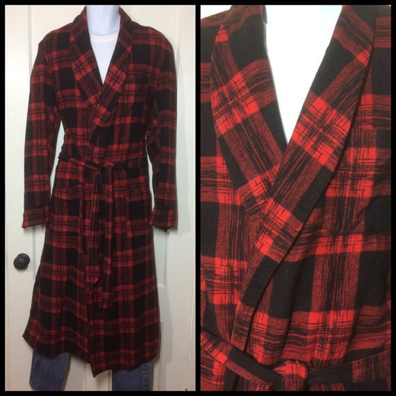1950s plaid flannel mens robe smoking jacket