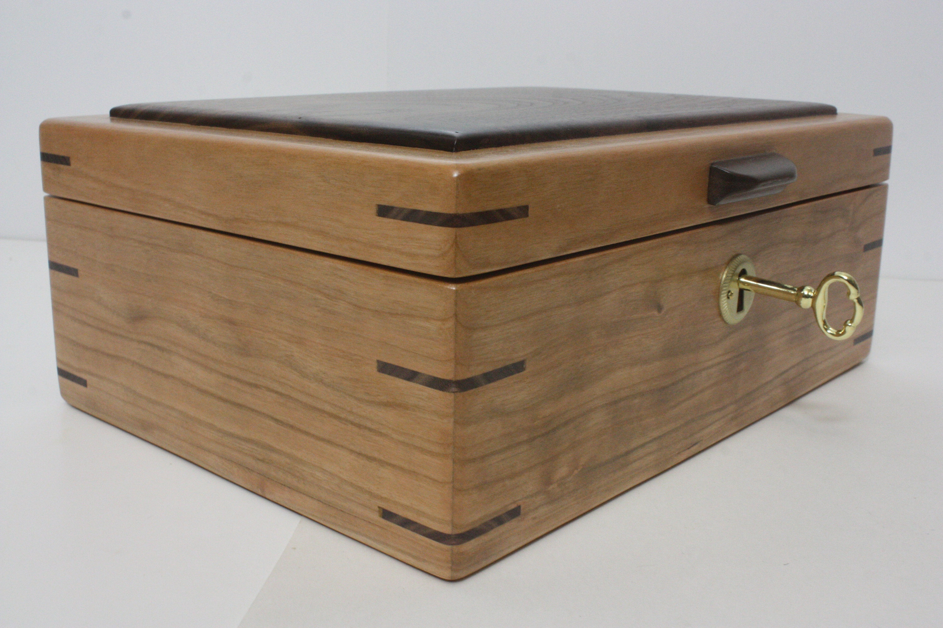 Locking Cherry Wood Keepsake Box
