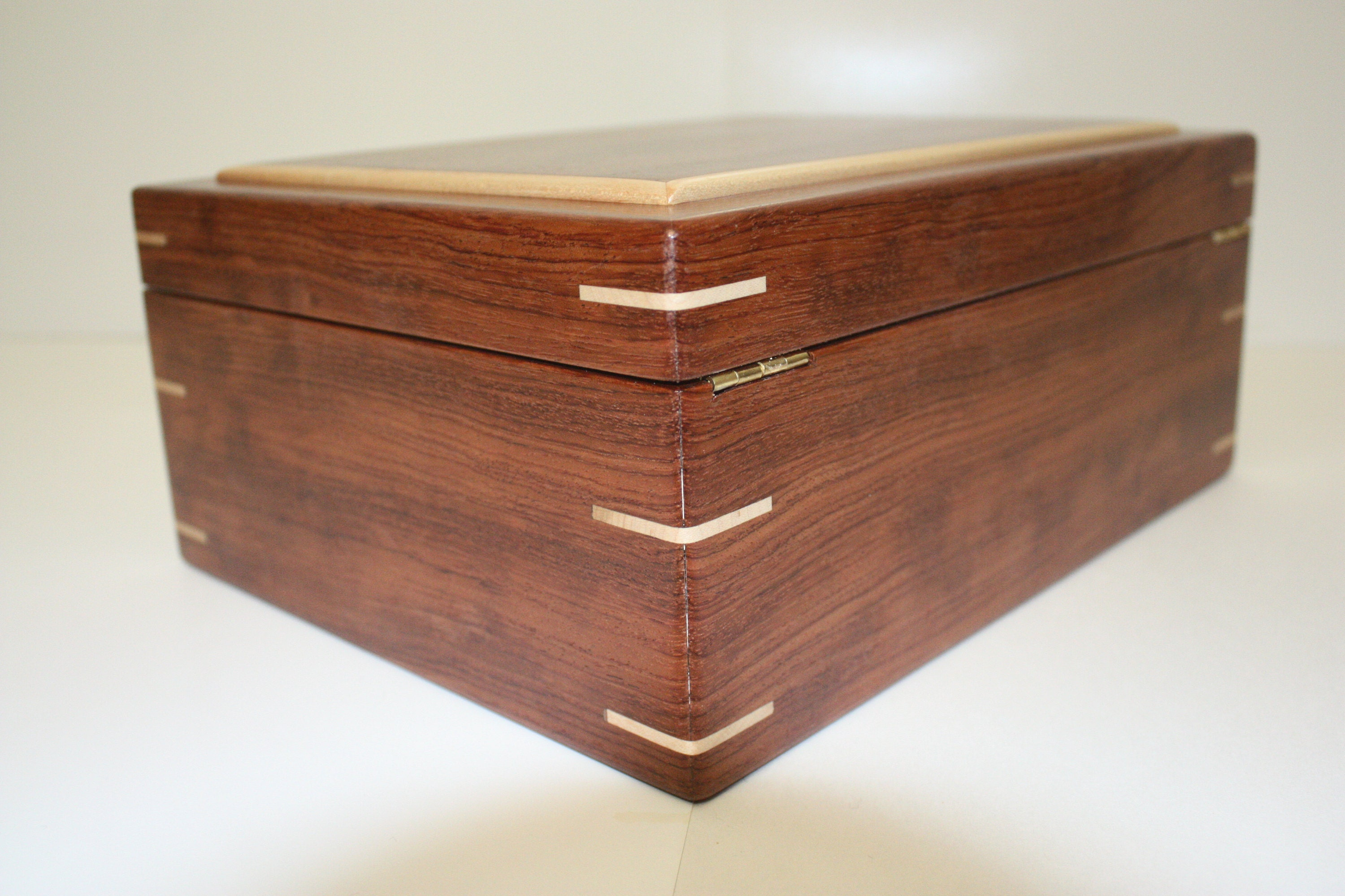 Large Wood Box with Quadrant Hinges For Sale