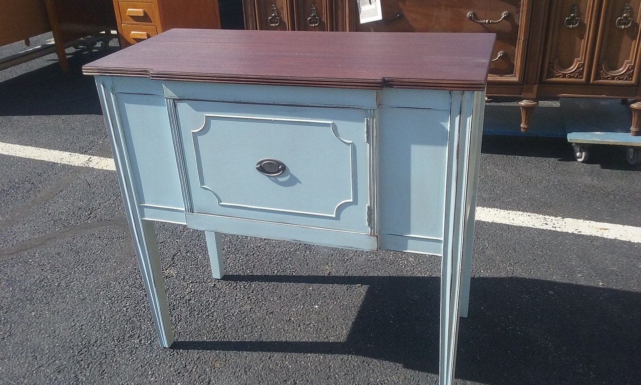 vintage buffet, stained top, stained wood, woodtone, shabby chic, rustic, farmhouse, vintage, cottage, country