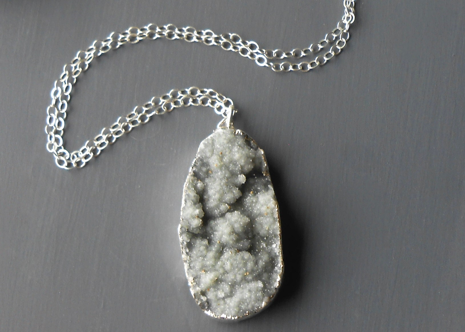 druzy pendant necklace sterling silver