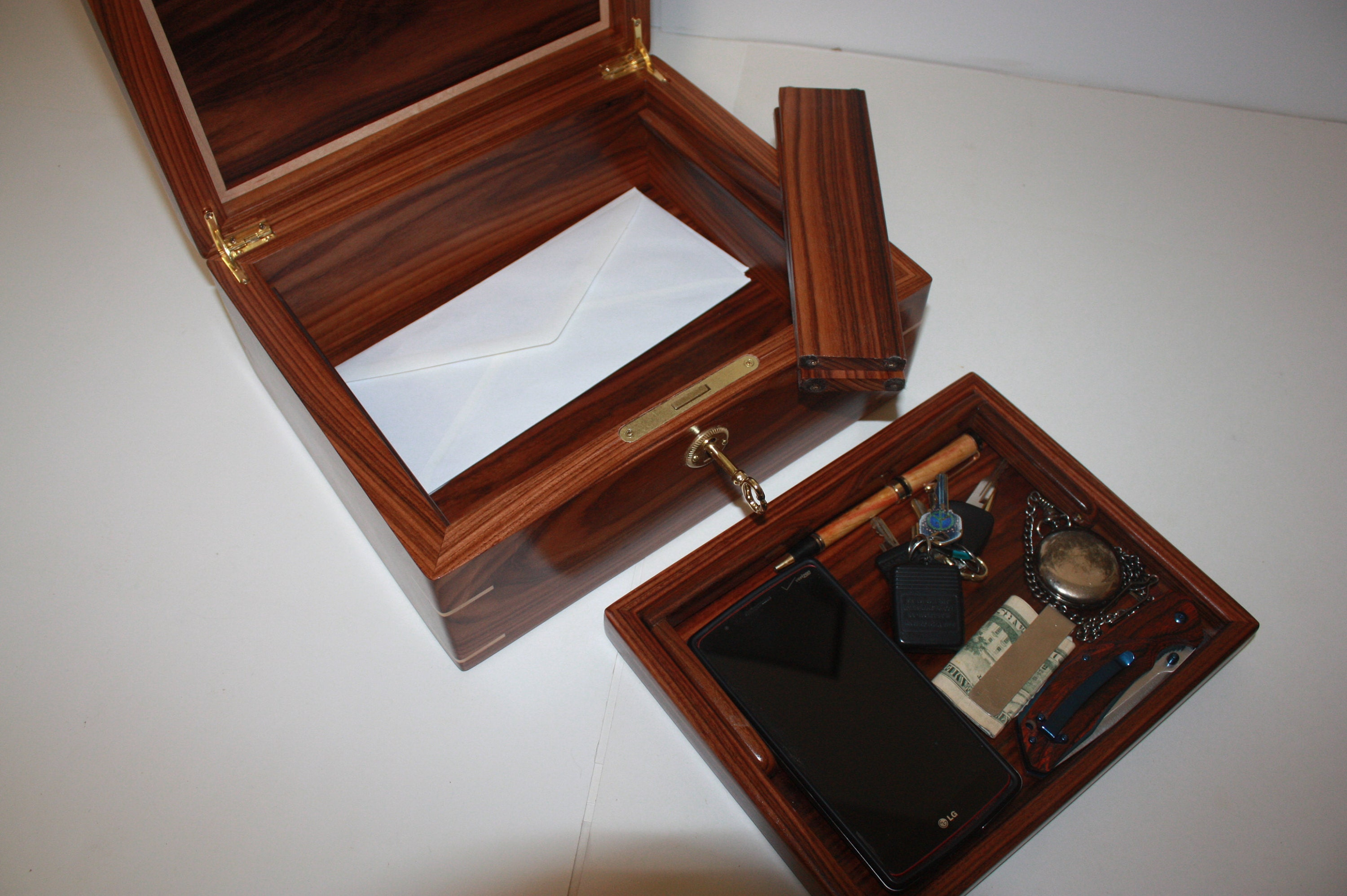 Handcrafted Mens Wood Valet Box For Sale