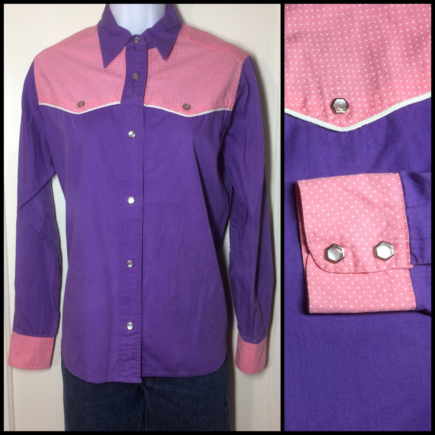 1950s pink and purple color block cowgirl western shirt