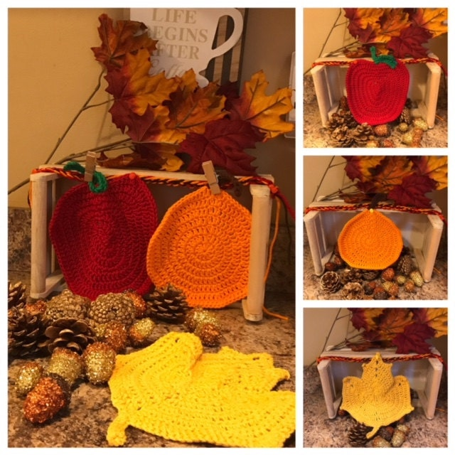 Fall themed dishcloths double as decorations or potholders!