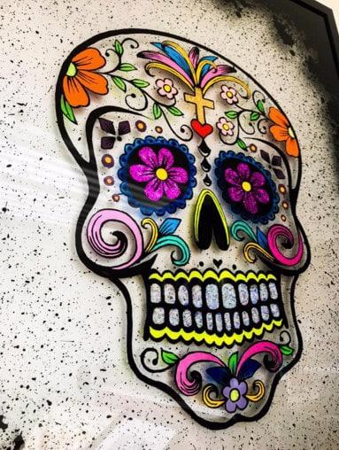 CJTaylord Art Sugar Skull Painting Stolen 30/1/18 at 3:15