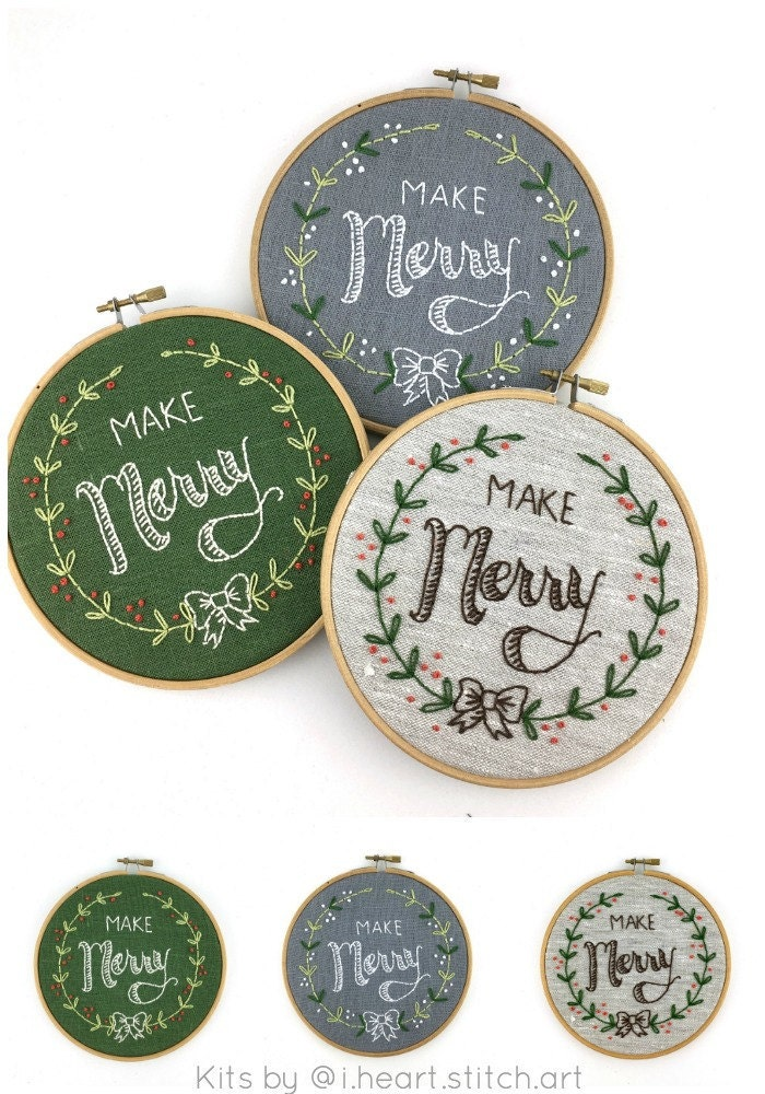 Make Merry embroidery kits by www.iheartstitchart.com
