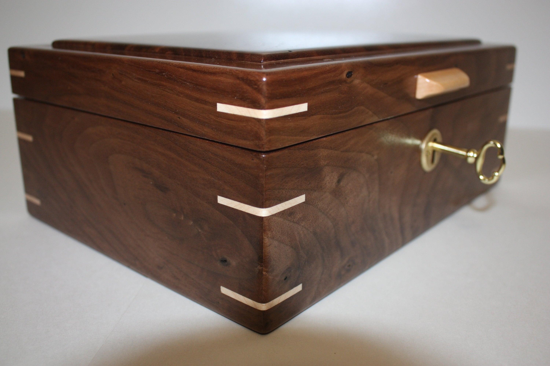 Locking Handmade Walnut Wood Box For Sale