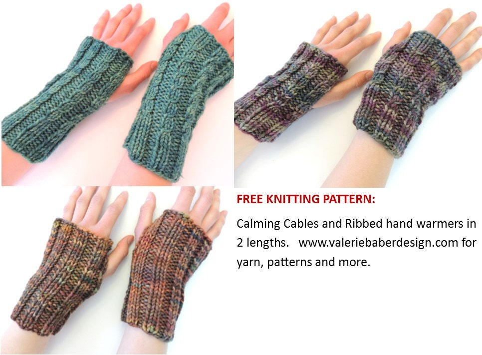 Free Knitting Pattern Calming Cables Hand Warmers Pattern
