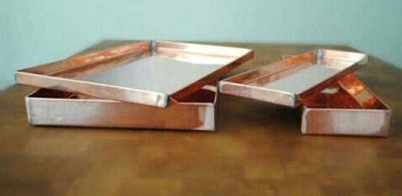 copper trays in different sizes