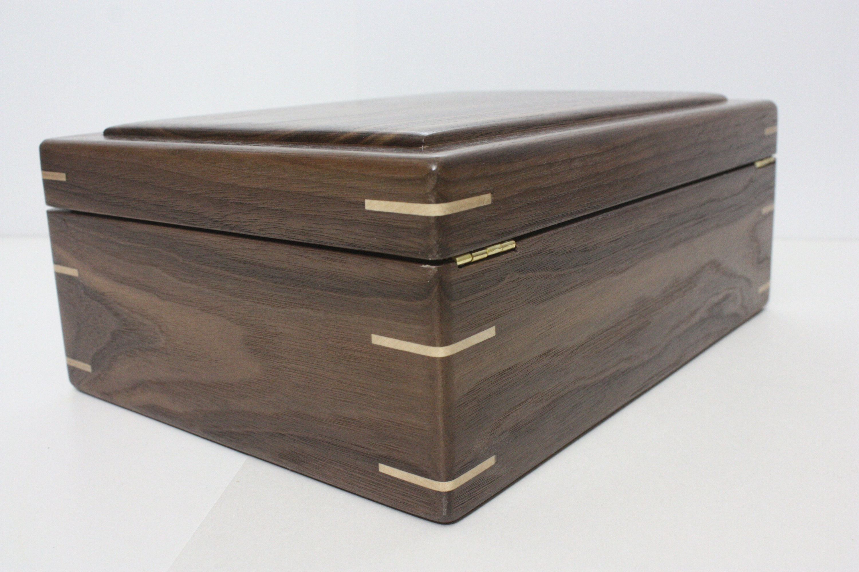 Black Walnut Wood Box with Quadrant Hinges