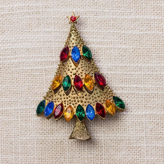 Christmas tree rhinestone gold brooch