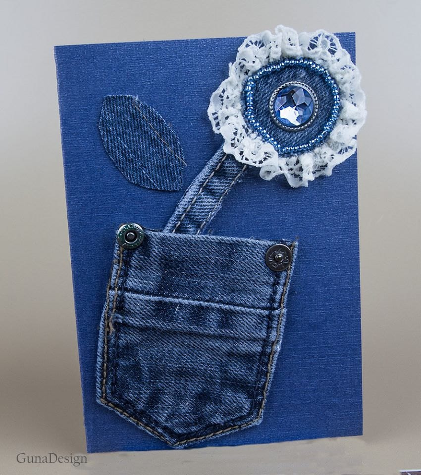 GunaDesign denim butterfly card