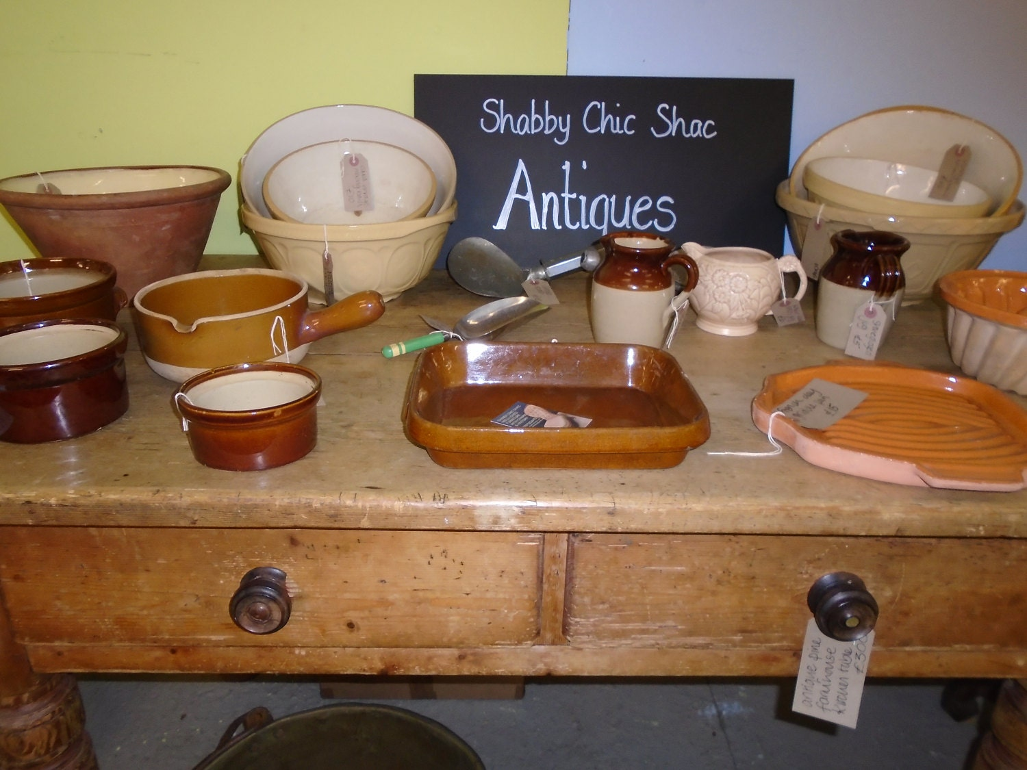 beautiful country pine furniture and vintage French cookware in the shop