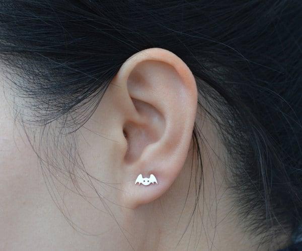 Bat Earring Studs In Sterling Silver by HuiyiTan