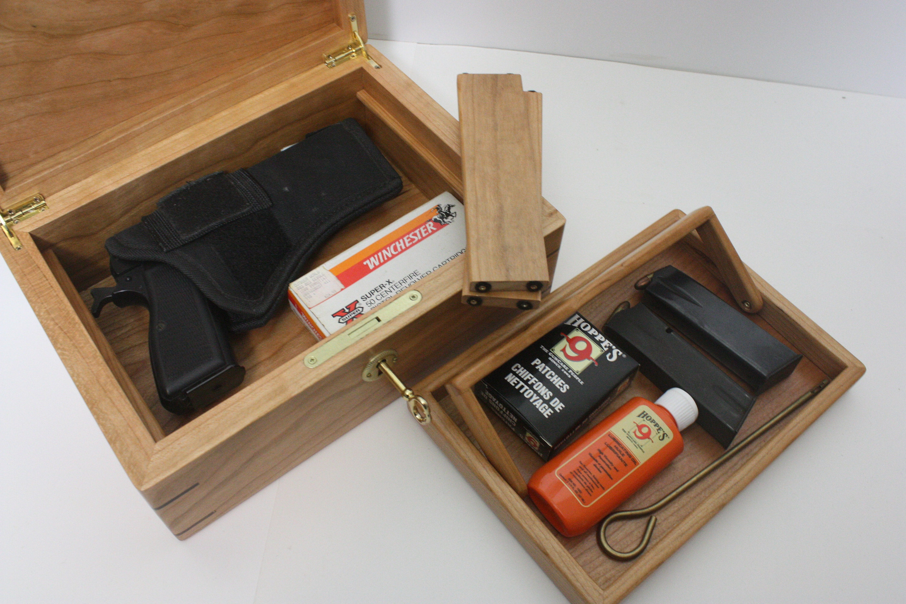 Locking Cherry Wood Pistol Box