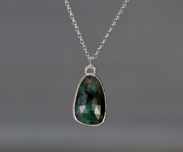 Rose Cut Emerald Necklace