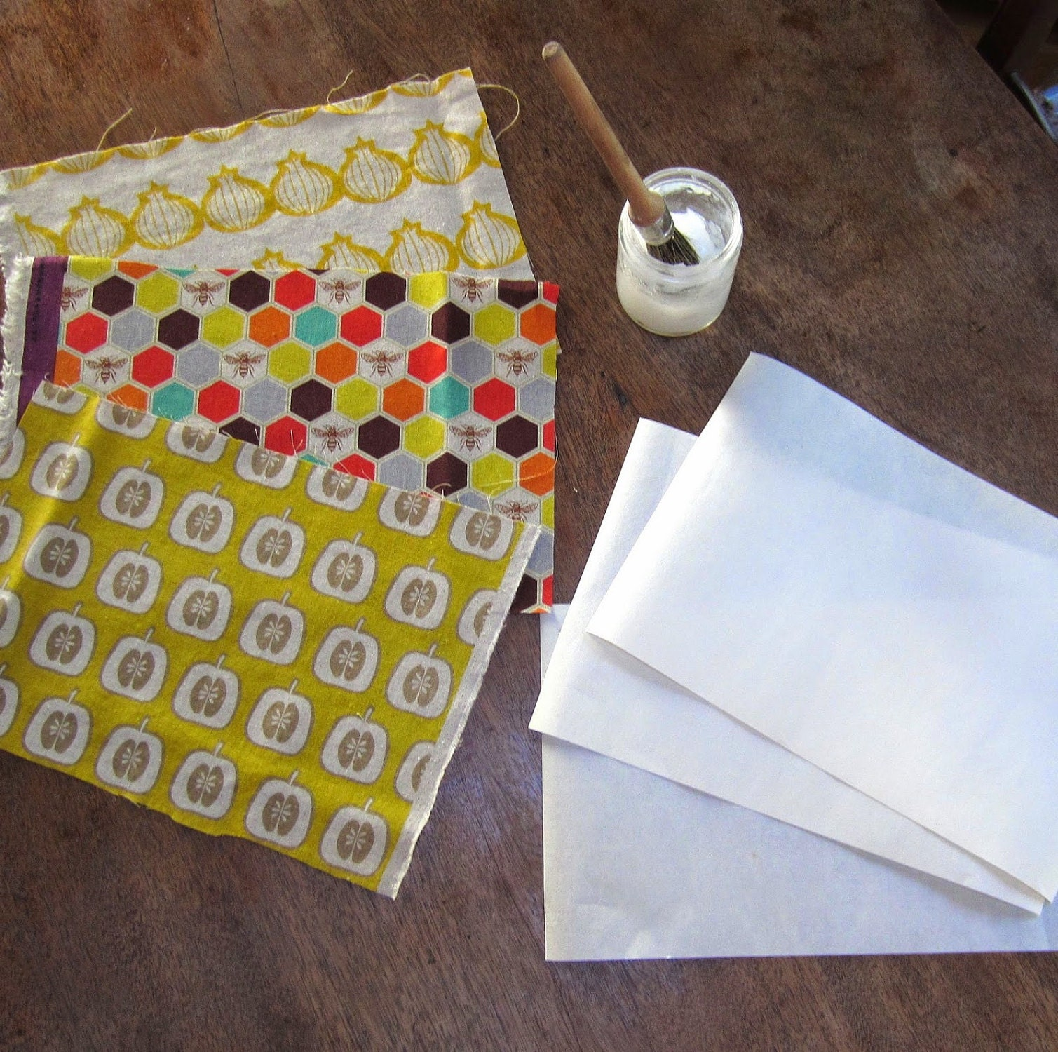 Fabric and Japanese paper ready to be pasted together