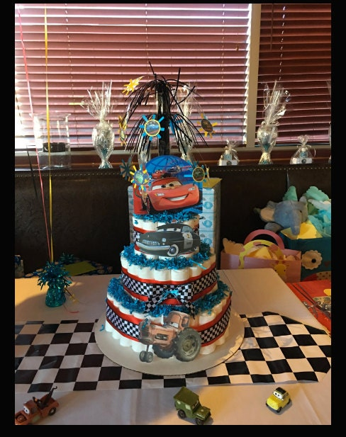 Diaper cake, Cars theme, three tier diaper cake, baby shower