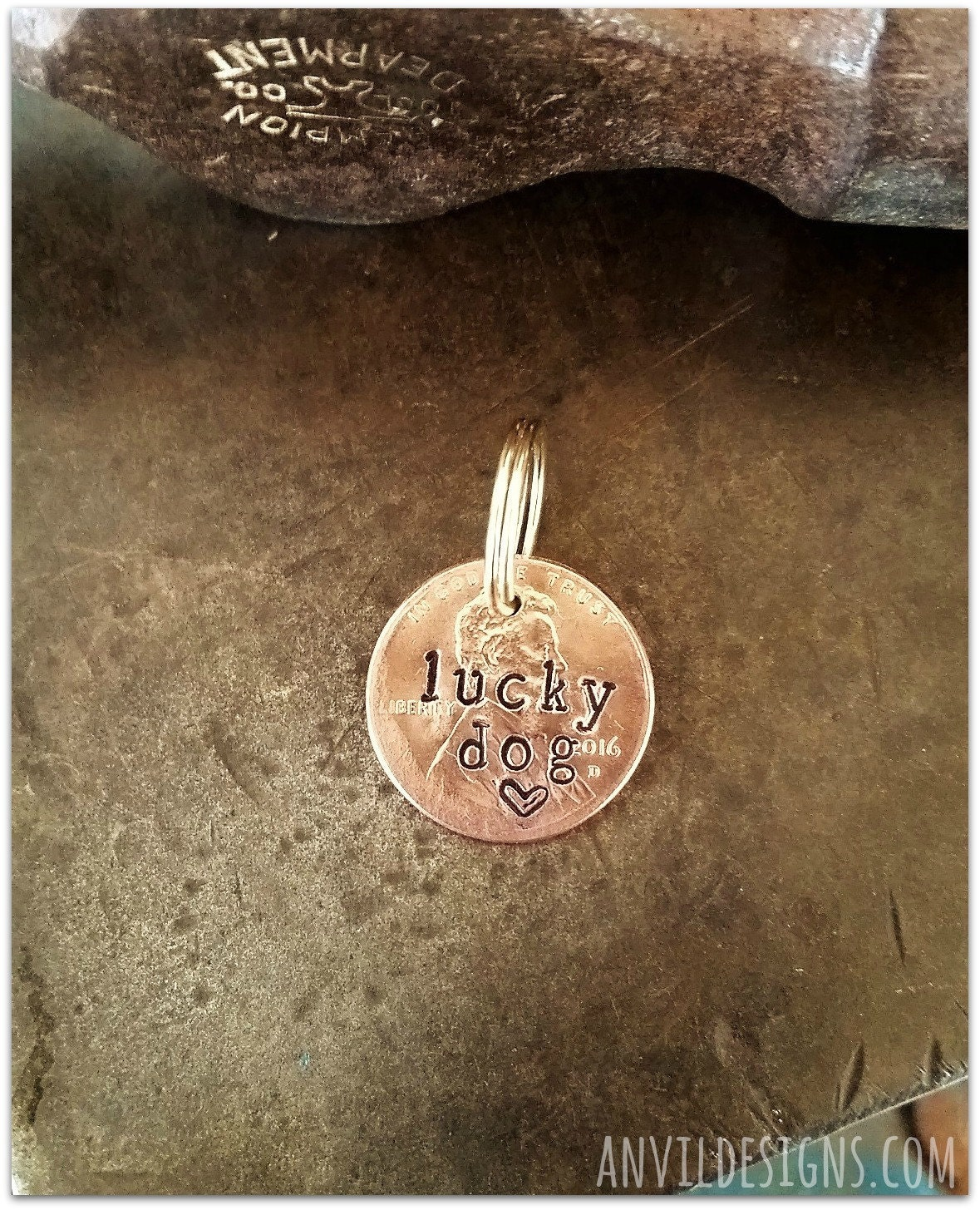 lucky dog penny dog tag anvil designs puppy bling dog lover
