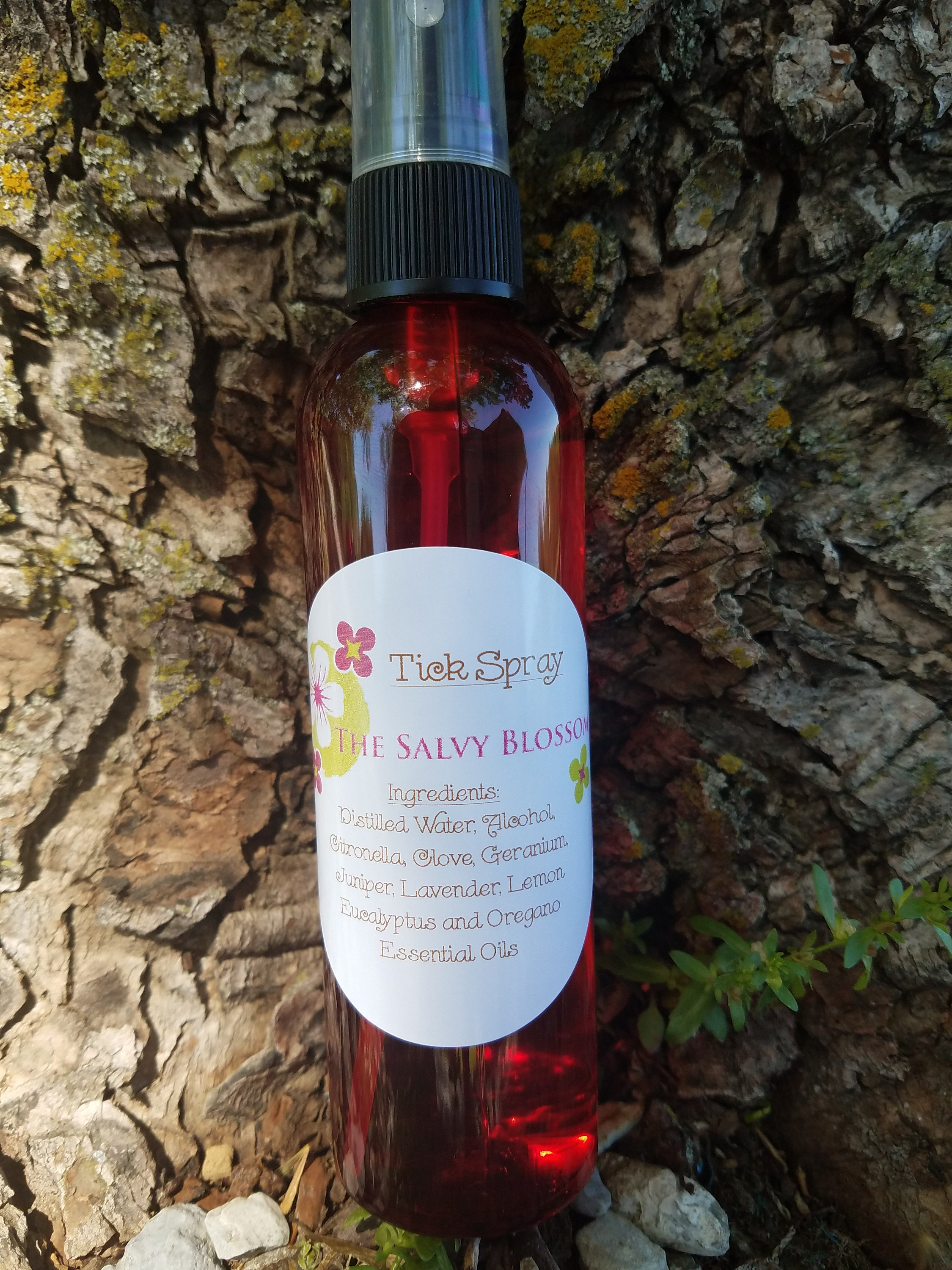 All Natural, Nontoxic, Chemical and Dye Free Tick Repellent made from Essential Oils.