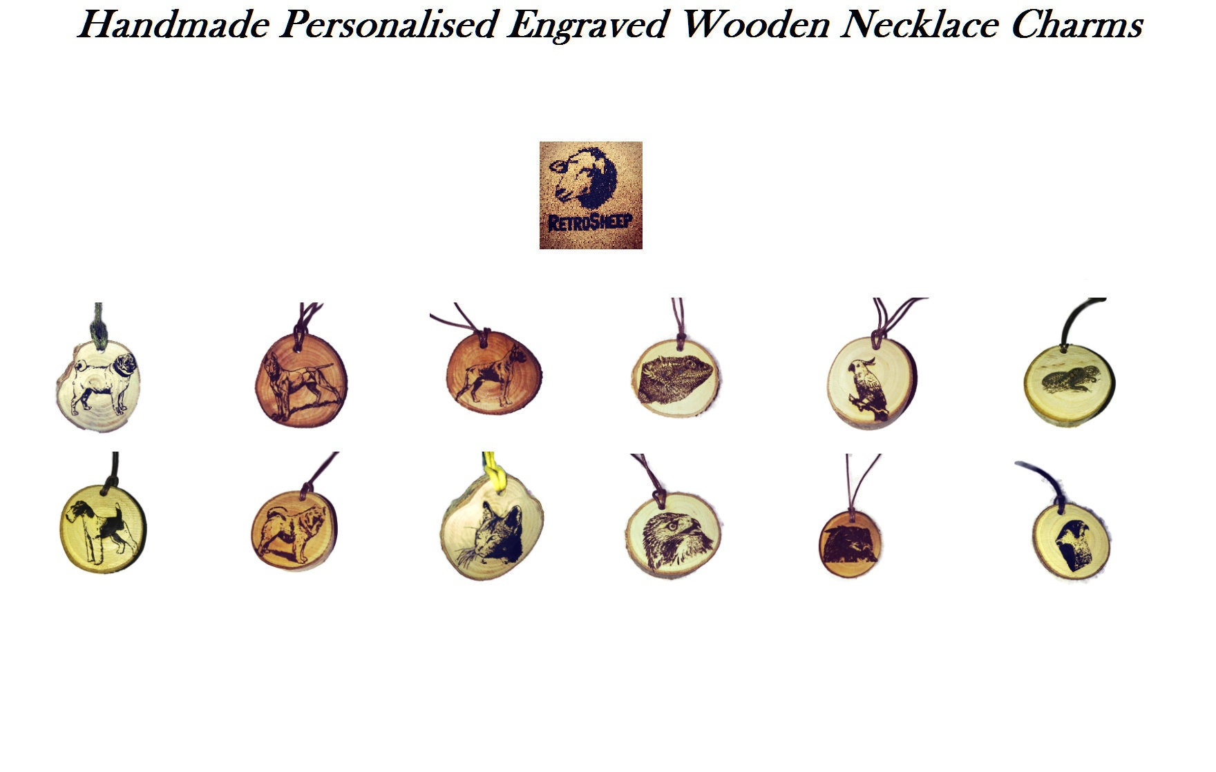 Animal Pet Dog Cat Bird Lizard  Handmade Personalised Engraved Wooden Necklace Charms