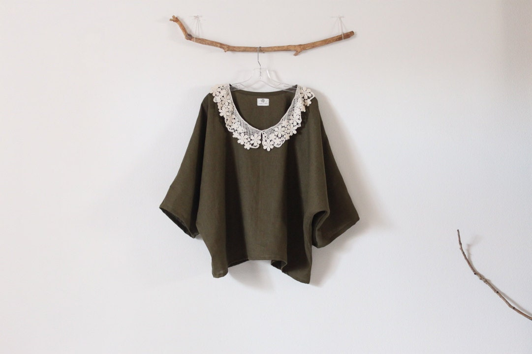 lace collar on oversized olive linen top