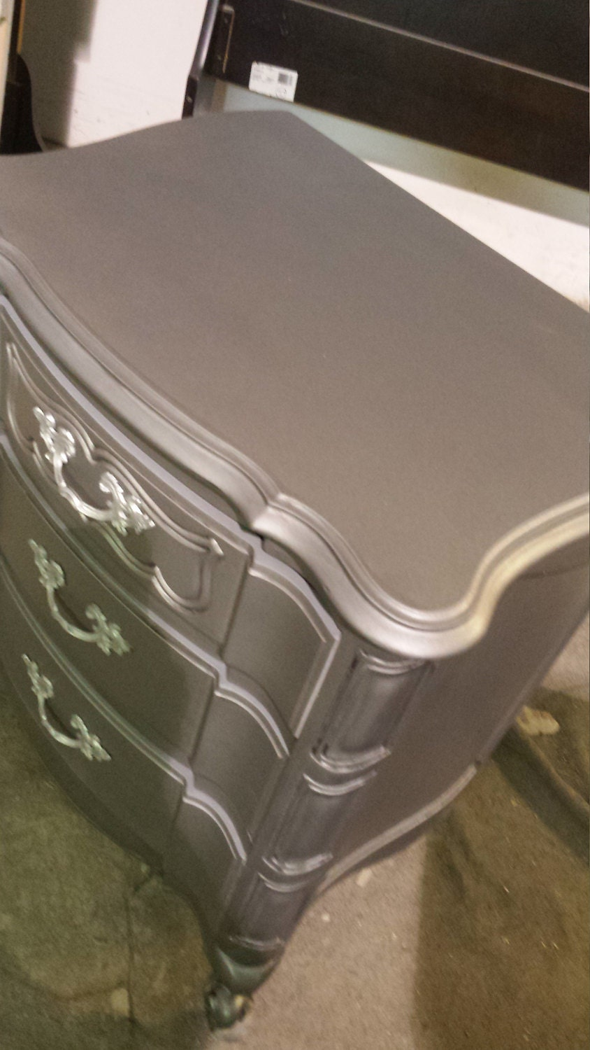 metallic painted vintage french provincial, france dresser