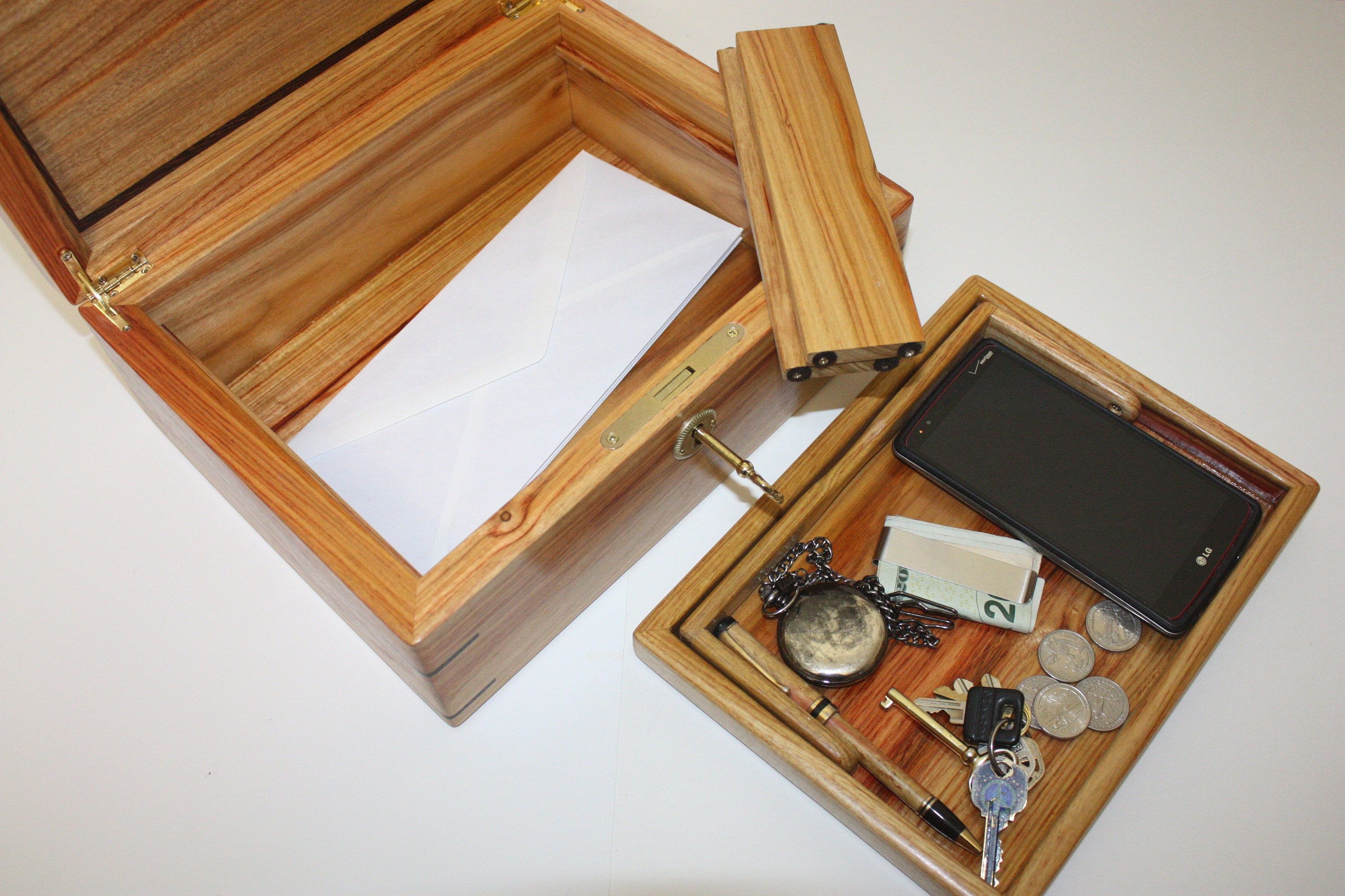Handmade Locking Mens Valet Box For Sale