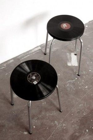old vinyl lp into stool