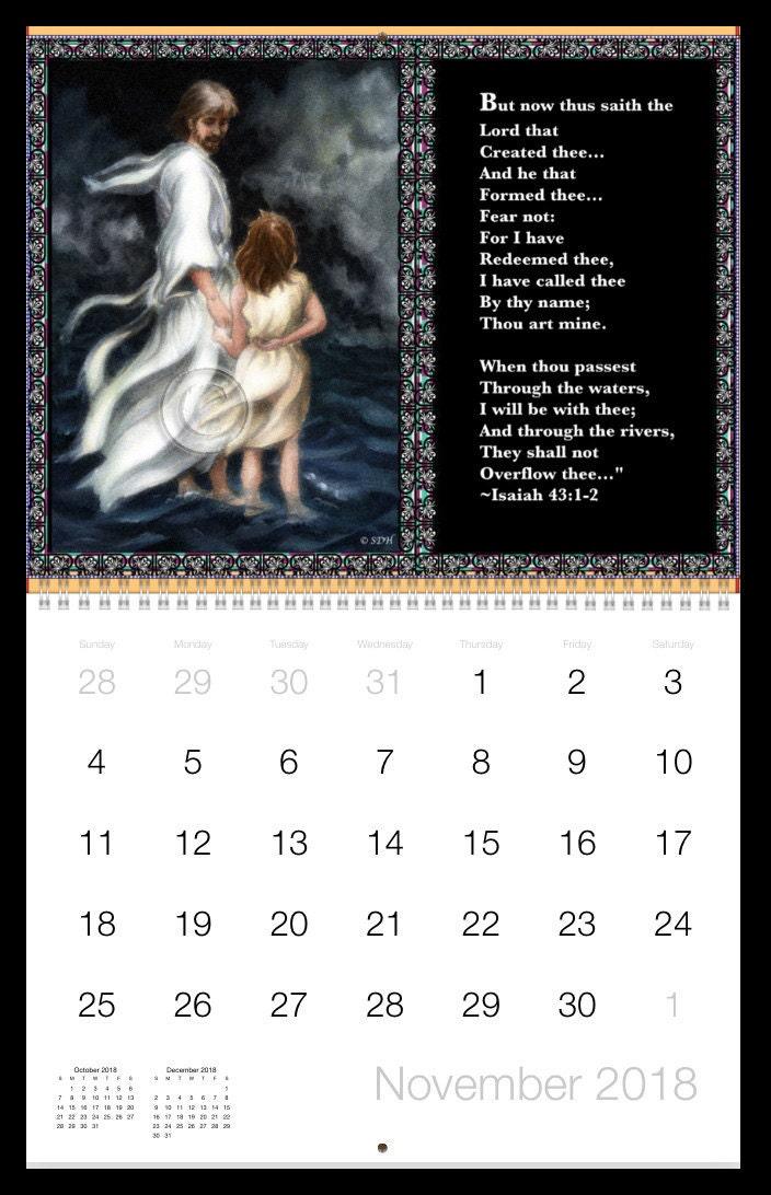 November Illustrated Encouraging Scripture Calendar © SD Harden
