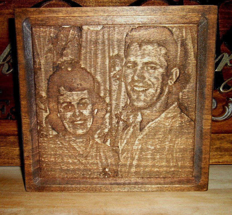 photo transferred and carved in wood