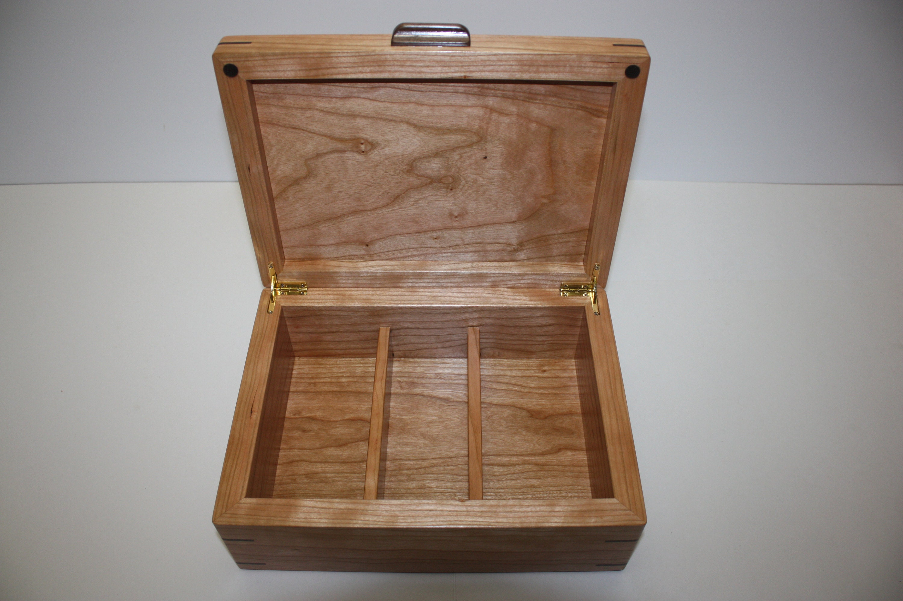 Large Cherry Wood Box with Dividers For Sale
