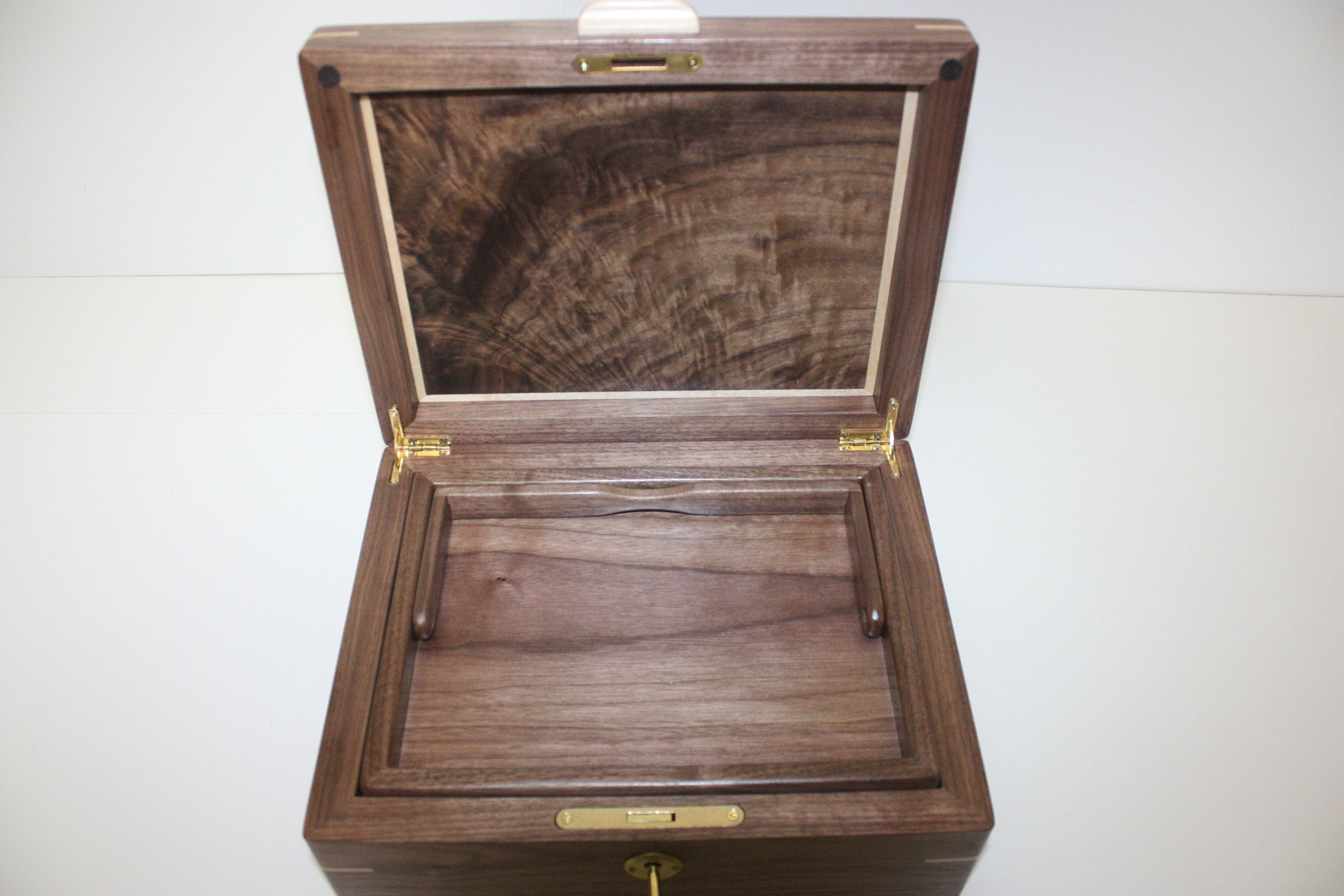 Handcrafted box with lift out tray