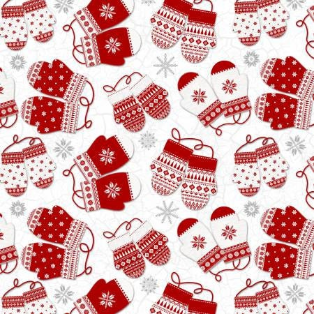 Frosty Folks Flannel Mittens Fabric