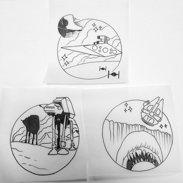 Tattoo flash line drawings.