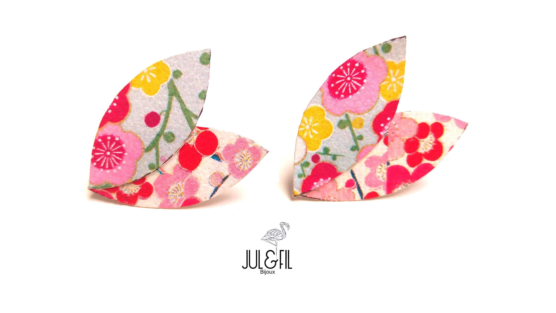 Puces doreilles AKEMI par JUL et FiL, motifs japonais dissociés