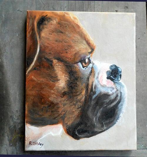 Boxer dog profile, boxer painting, custom dog  portrait, artist robin