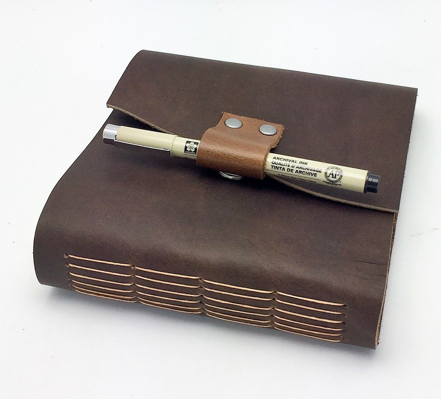 6x6 brown leather journal