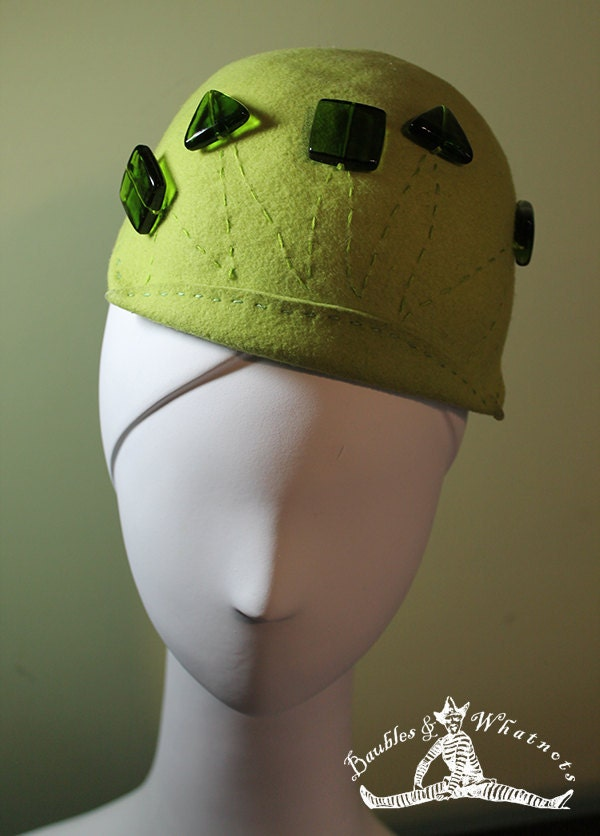 Chartreuse Green Hand Blocked Beaded Wool Beanie Hat