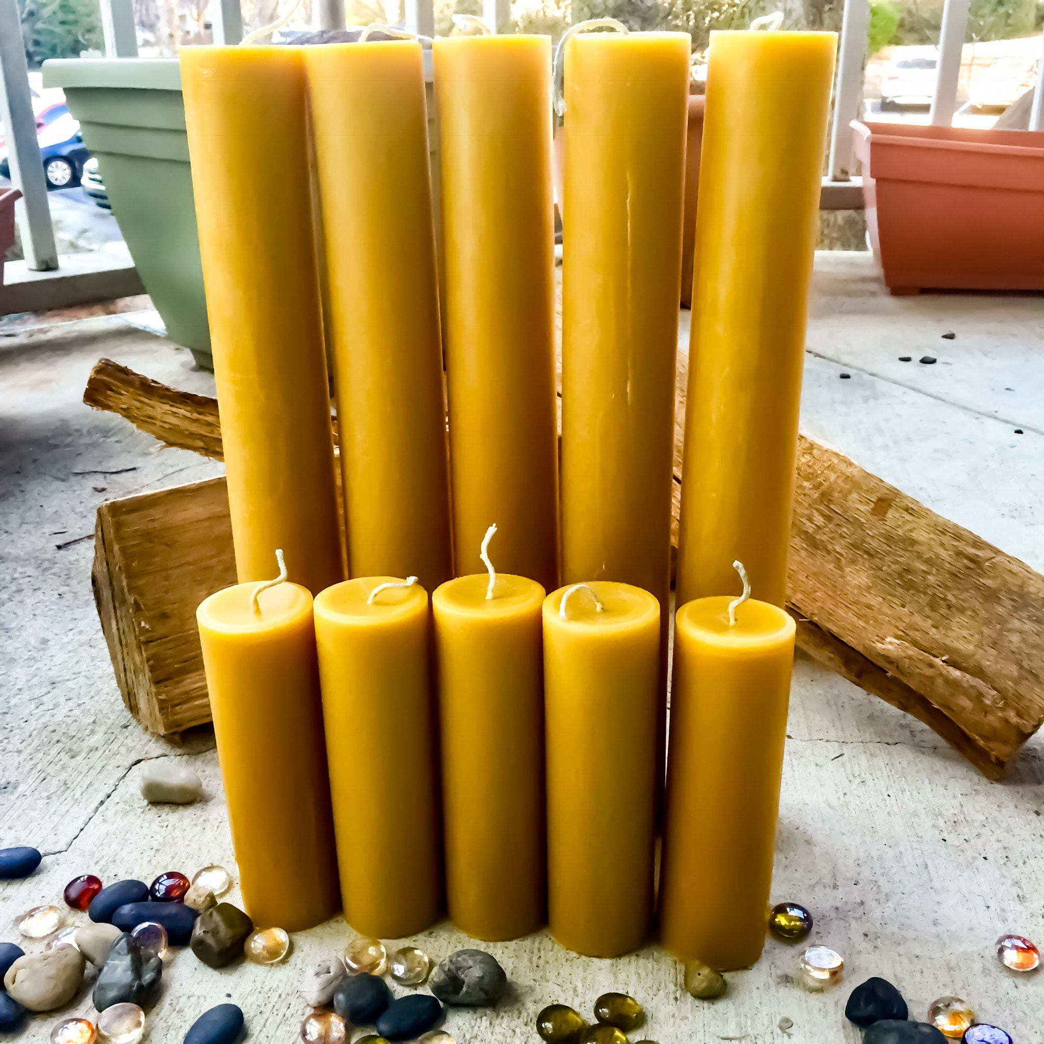 Tall organic beeswax candles