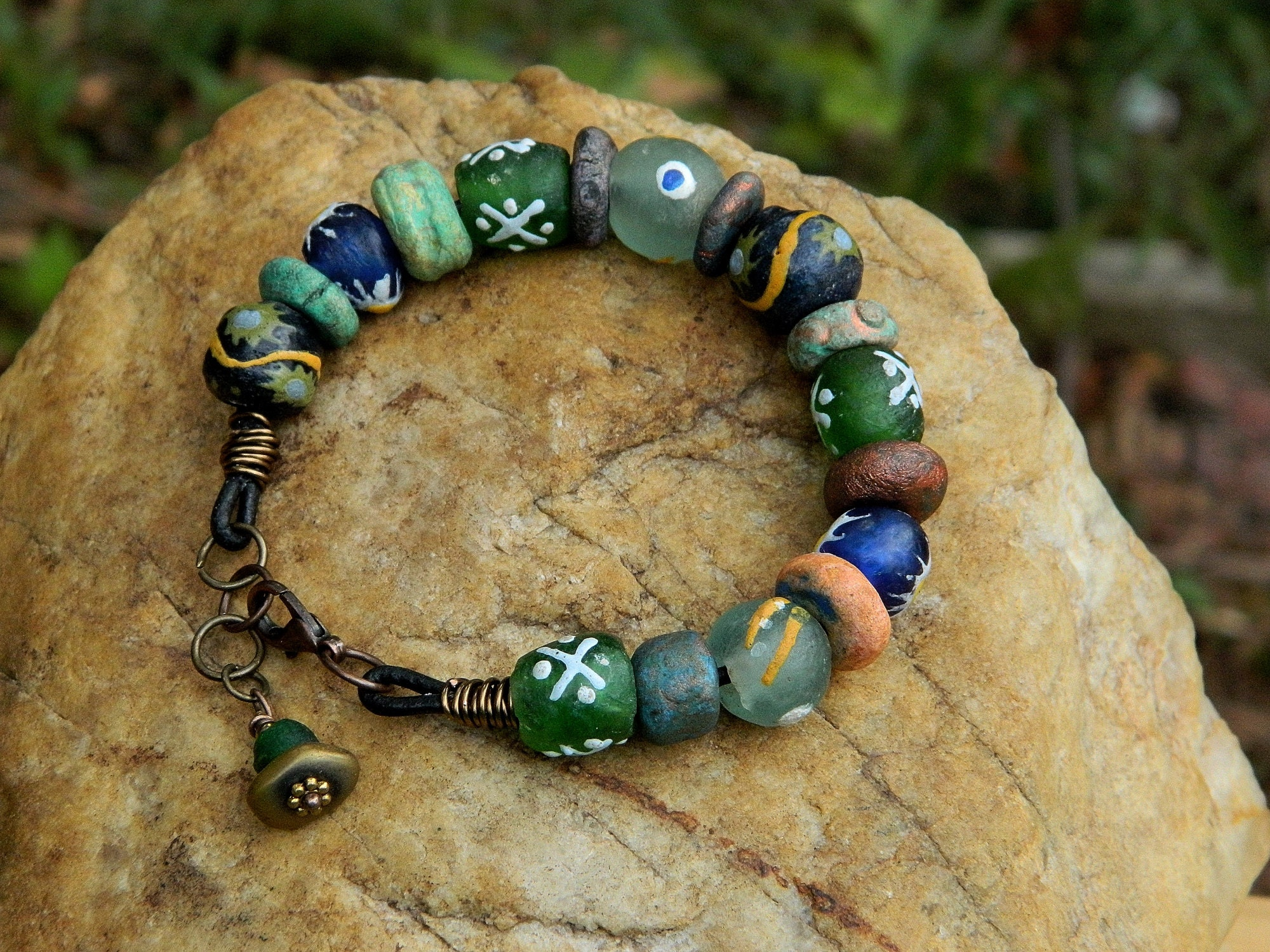 Rustic Recycled Glass Bead Boho Bracelet