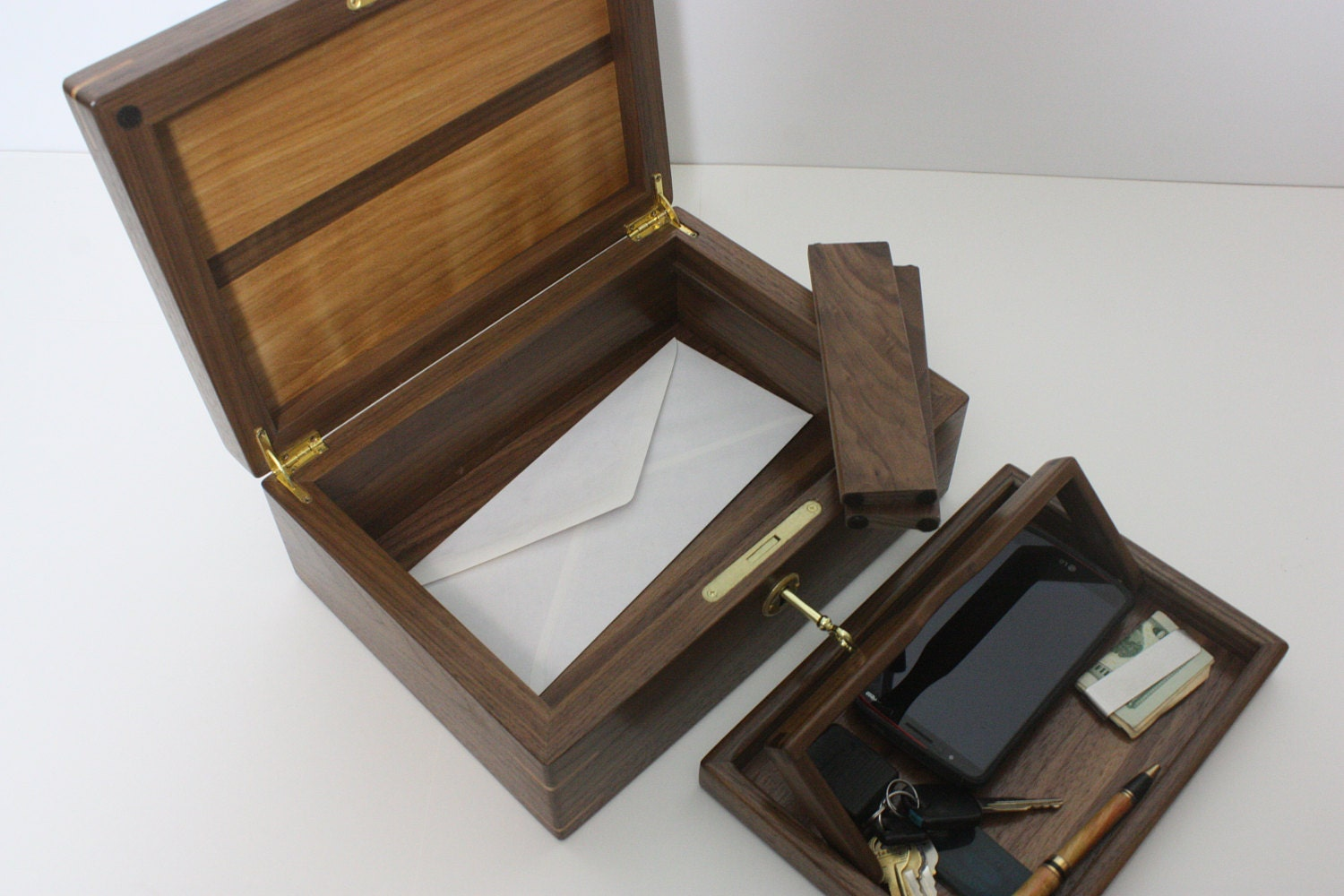 Walnut and Red Birch Wood Valet Box