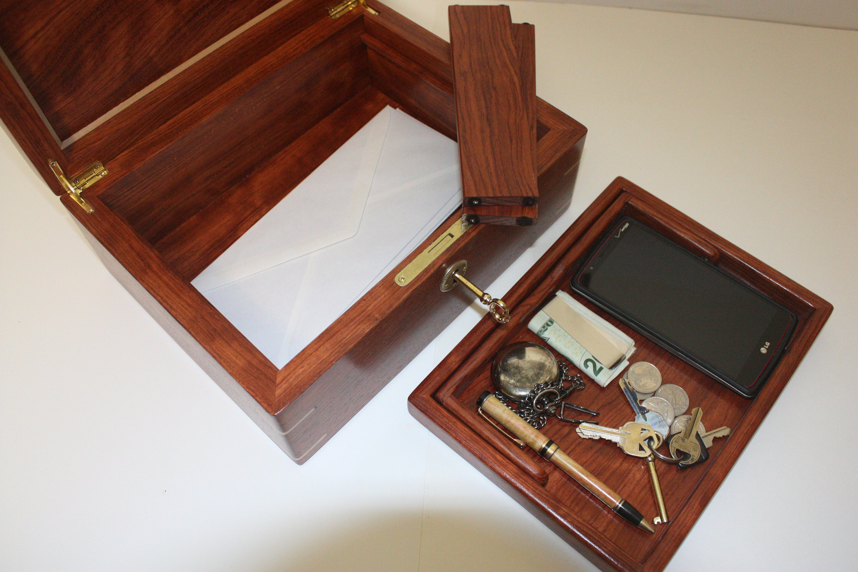 Bubinga Wood Mens Valet Box For Sale