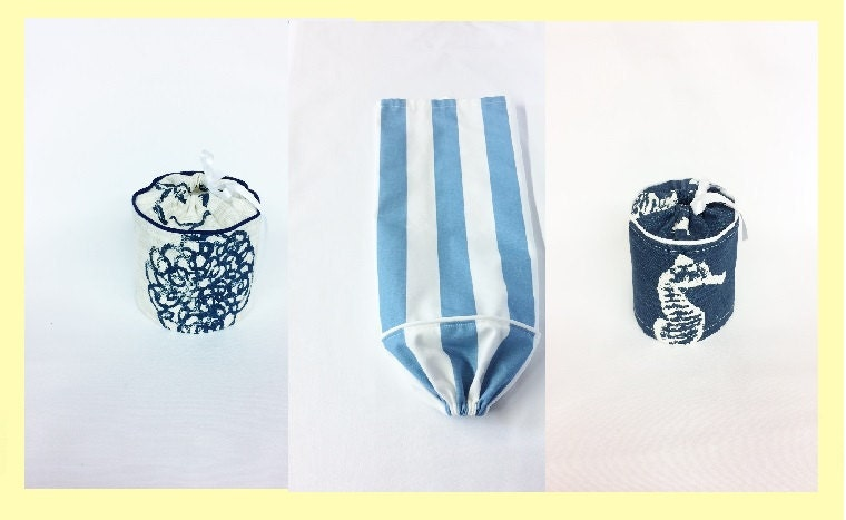 GiftsandHomeDecorUS Blue Toilet paper covers and plastic bag holders