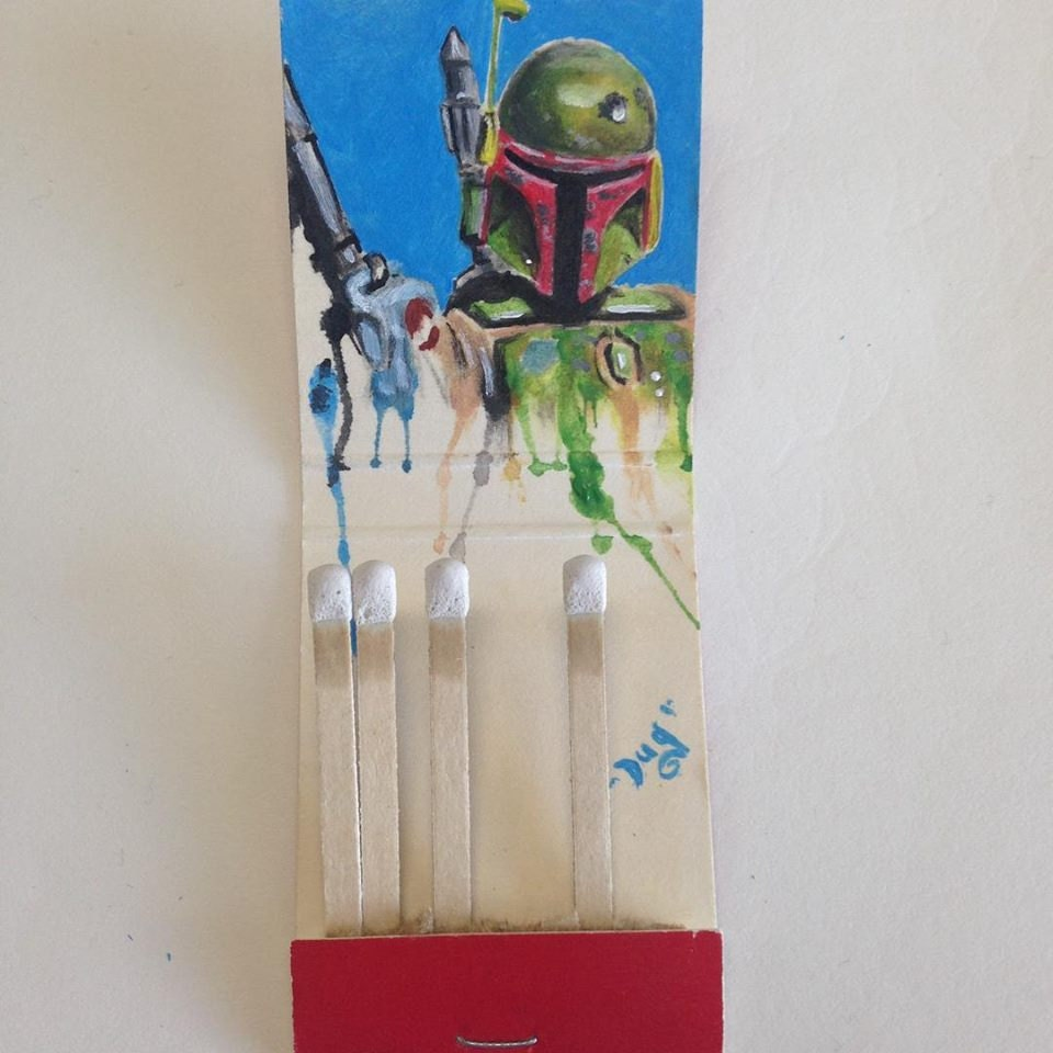 Boba Drip. 1.5x1.85 Acrylic on vintage matchbook
