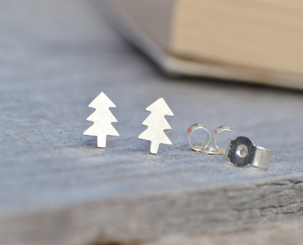 Christmas Tree earring studs in sterling silver