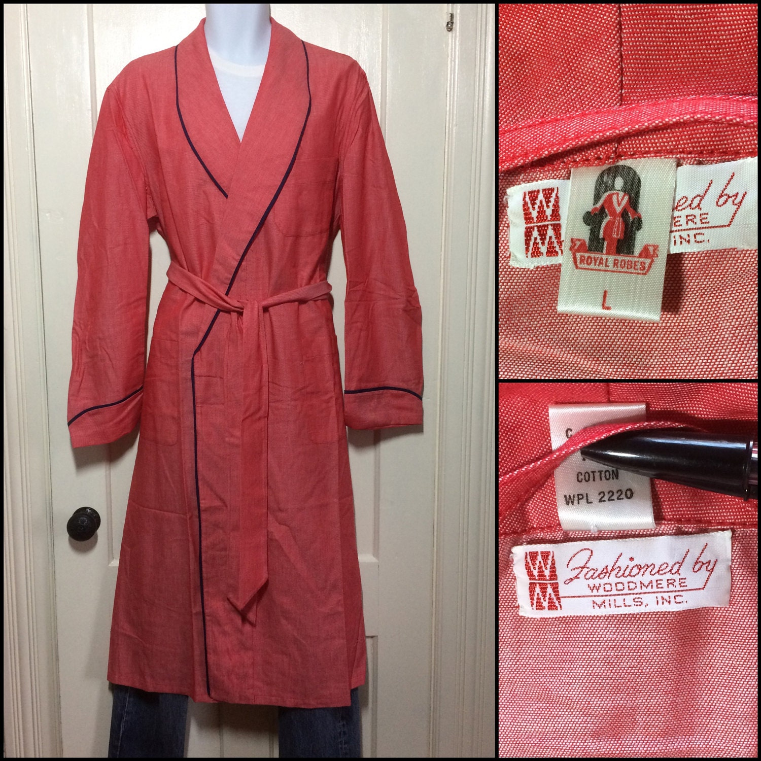 Deadstock red chambray robe by Royal Robes, 1950s vintage