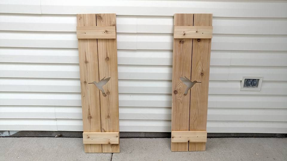 Custom Shutters: Hummingbird on Cedar