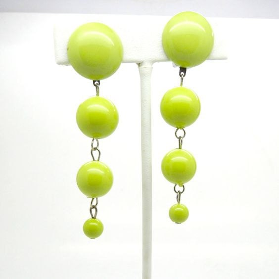 long green earrings for women