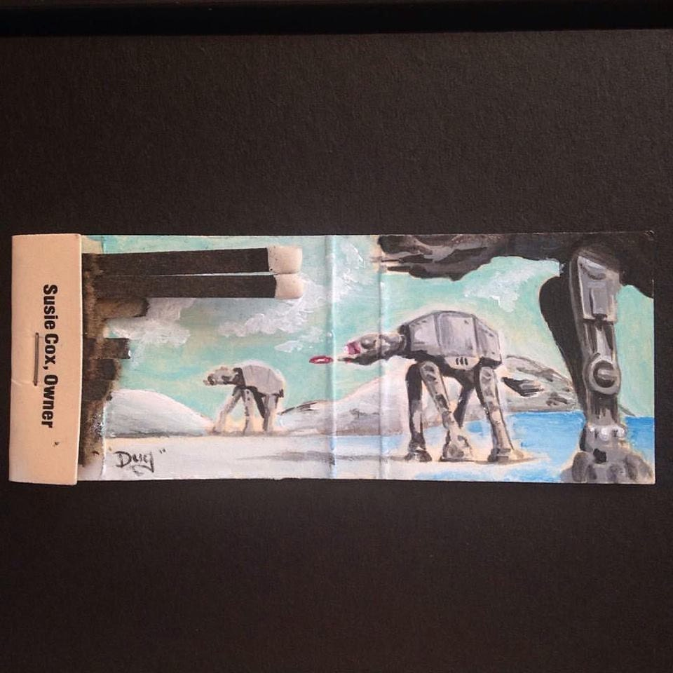 Attack on Hoth.  Acrylic on vintage matchbook